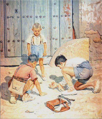 """""""Niños jugando a las bolas"""" de Antonio López."""